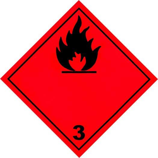 Etiquetas ADR 100 x 100 mm Clase 3 - Líquido Inflamable