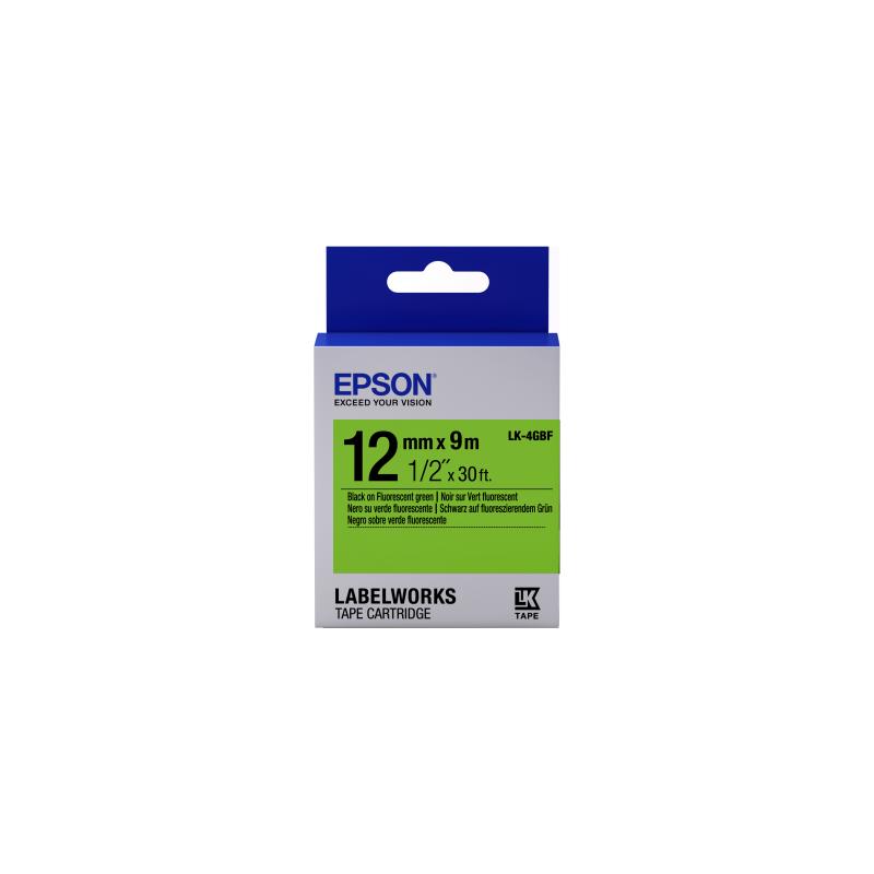 Cinta Epson fluorescente - LK-4GBF negro/verde fluorescente 12/9