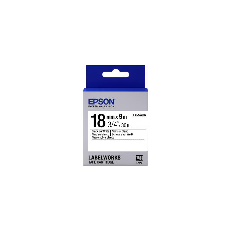Cinta Epson Estándar - LK-5WBN estándar negra/blanca 18/9