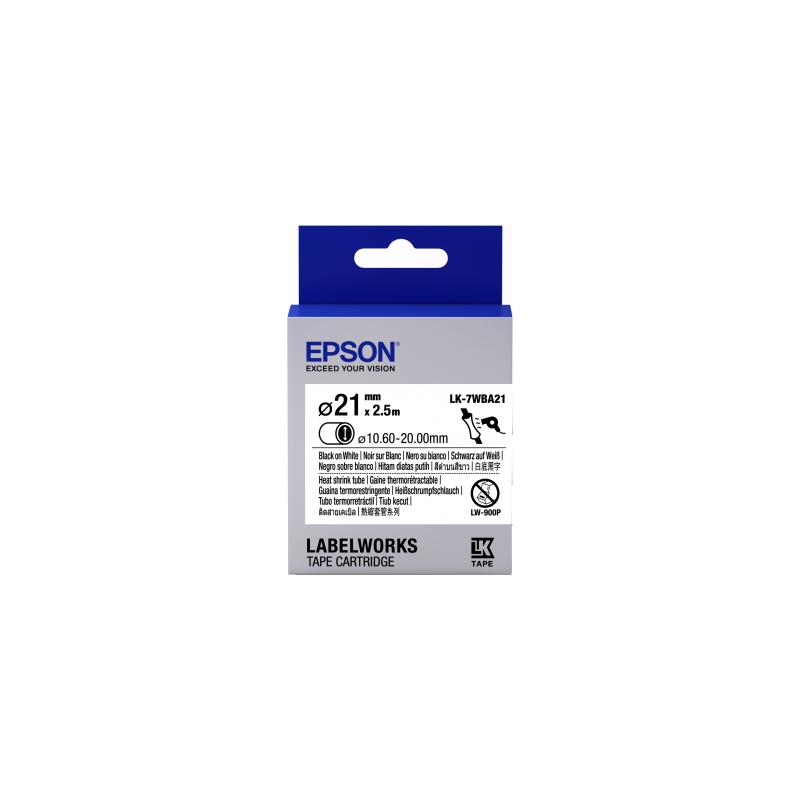 Cartucho de etiquetas Epson para tubo termorretráctil (HST) LK-7WBA21 negro/blanco de 21mm de diámetro (2,5m)