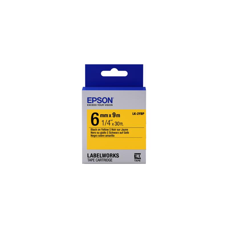 Cinta Epson color pastel - LK-2YBP negro/amarillo pastel 6/9
