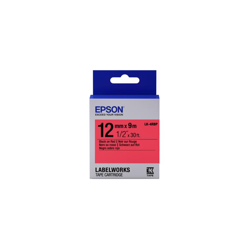 Cinta Epson color pastel - LK-4RBP negro/rojo pastel 12/9