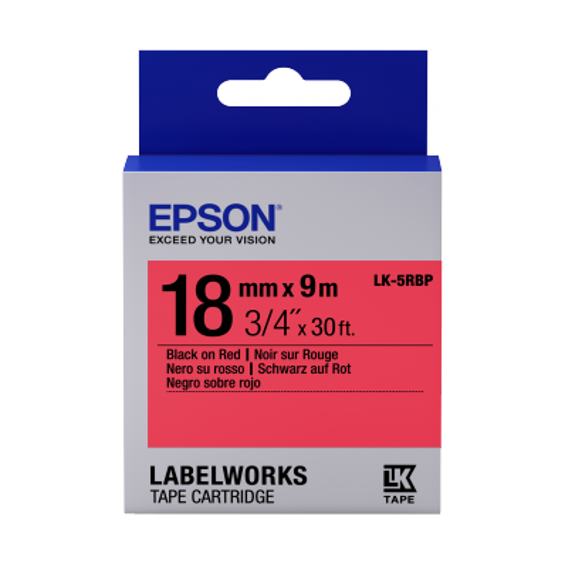 Cinta Epson color pastel - LK-5RBP negro/rojo pastel 18/9