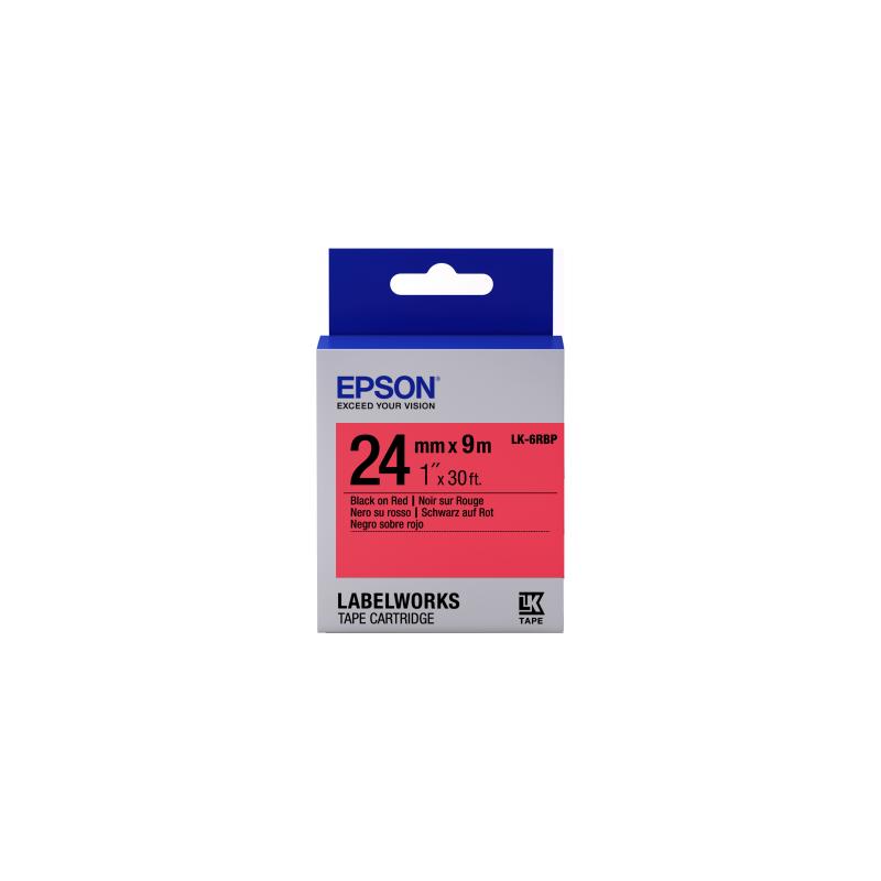Cinta Epson color pastel - LK-6RBP negro/rojo pastel 24/9