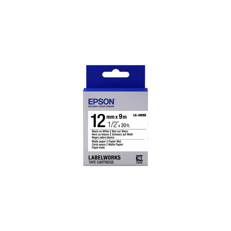 Cinta Epson papel mate - LK-4WBB negra/blanca para papel mate 12/9