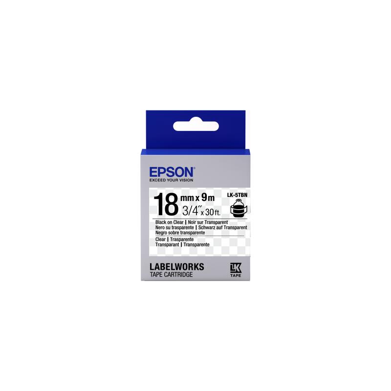 Cinta Epson transparente - LK-5TBN negra transparente/transparente 18/9
