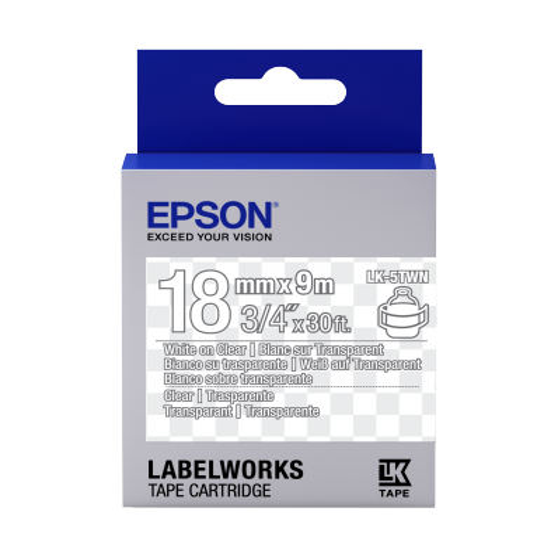 Cinta Epson transparente- LK-5TWN blanca transparente/transparente 18/9