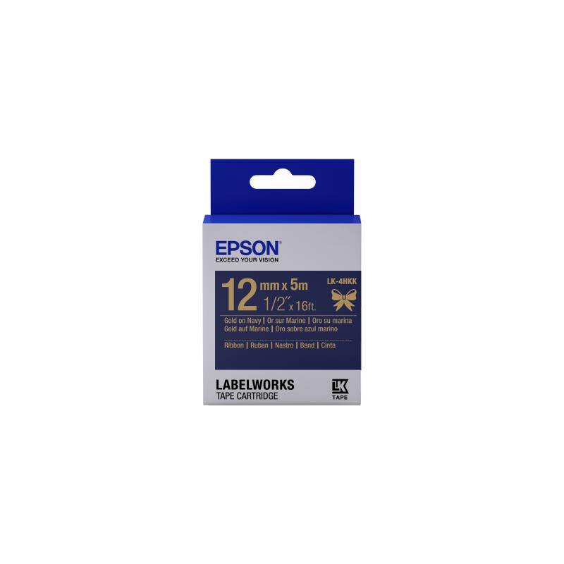 Cartucho de etiquetas Epson de cinta satinada LK-4HKK oro/azul marino de 12mm (5m)
