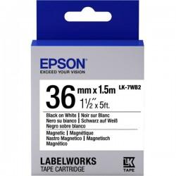 Cartucho de etiquetas magnéticas Epson LK-7WB2 negro/blanco 36mm (1,5m)