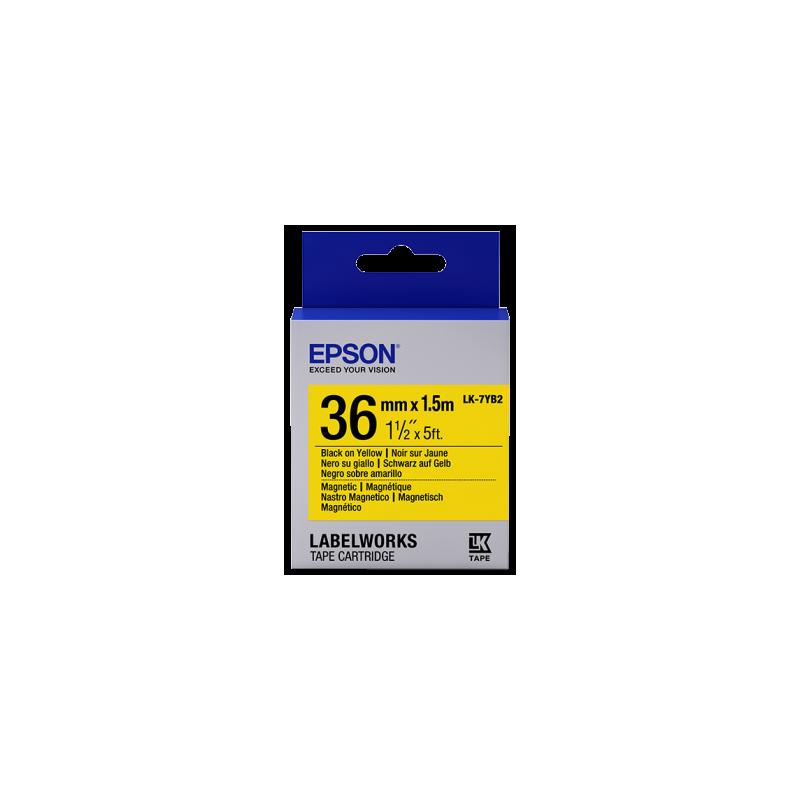 Cartucho de etiquetas magnéticas Epson LK-7YB2 negro/amarillo 36mm (1,5m)