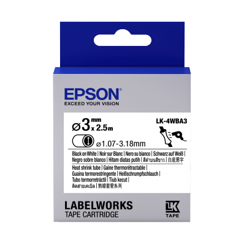 Cartucho de etiquetas Epson para tubo termorretráctil (HST) LK-4WBA3 negro/blanco de 3mm de diámetro (2,5m)
