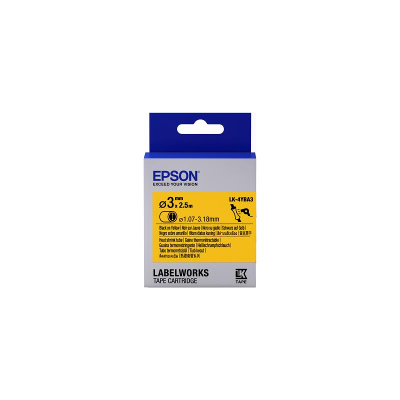 Cartucho de etiquetas Epson para tubo termorretráctil (HST) LK-4YBA3 negro/amarillo de 3mm de diámetro (2,5m)