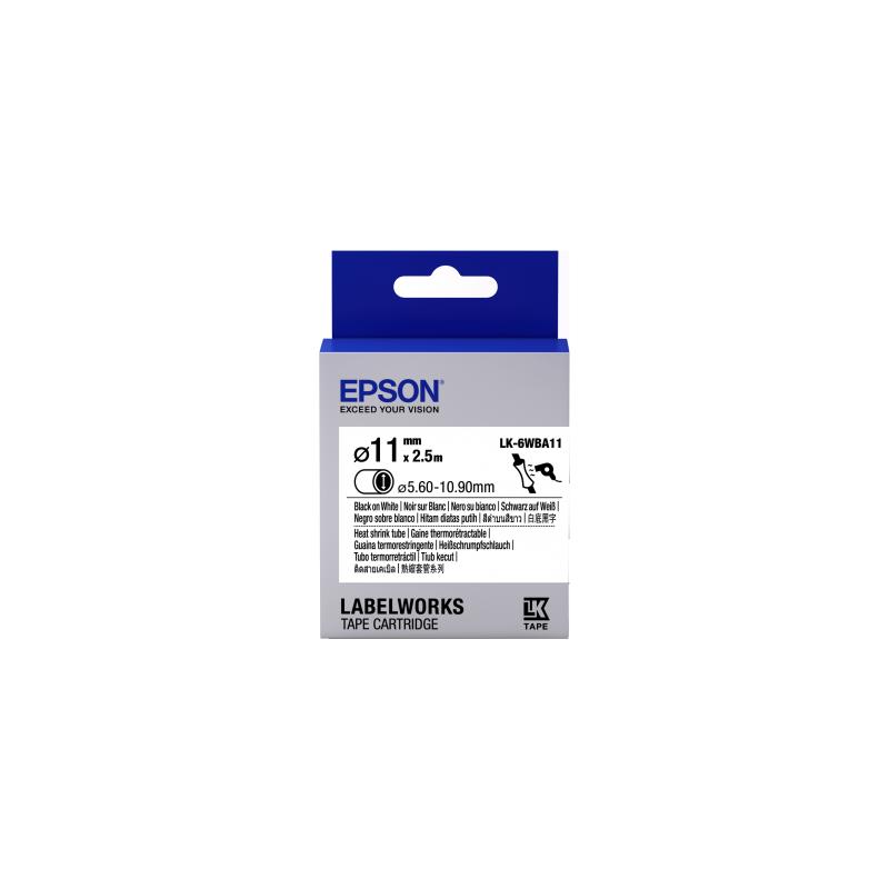 Cartucho de etiquetas Epson para tubo termorretráctil (HST) LK-6WBA11 negro/blanco de 11mm de diámetro (2,5m)