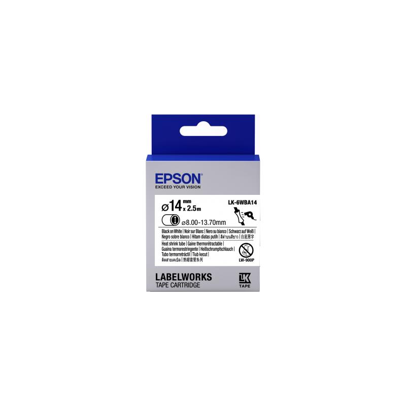 Cartucho de etiquetas Epson para tubo termorretráctil (HST) LK-6WBA14 negro/blanco de 14mm de diámetro (2,5m)