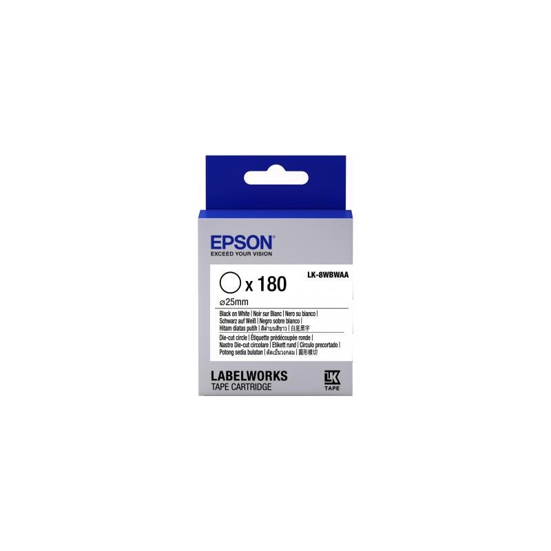 Cartucho de etiquetas cortadas redondas Epson LK-8WBWAA negro/blanco de 25mm de diámetro (180 etiquetas)