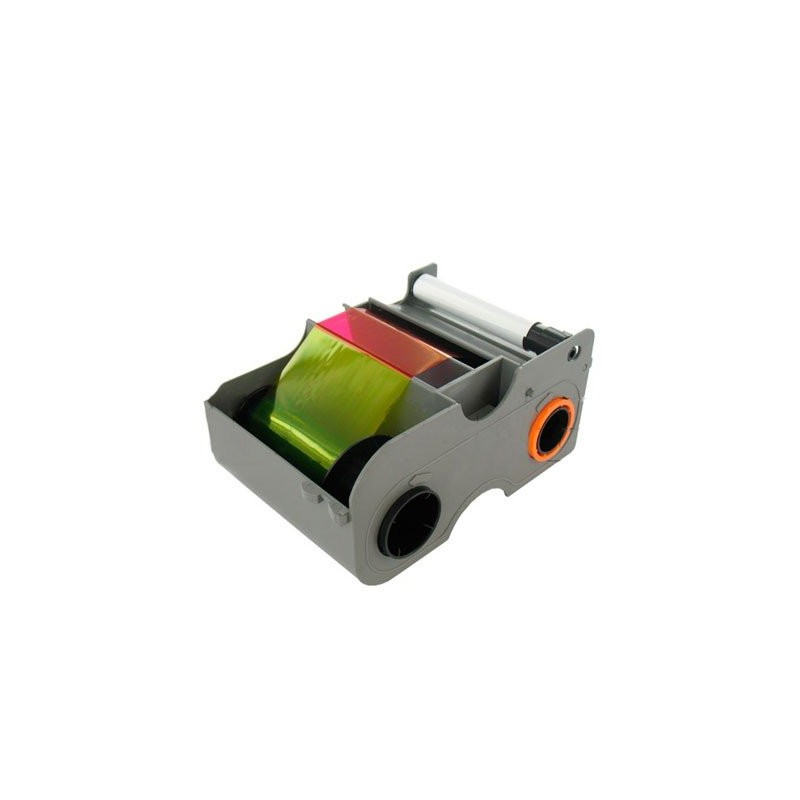 EZ - YMCKOK Cartridge w/Cleaning Roller: Full-color ribbon with two resin black panels and clear overlay panel (NA) – 200 images