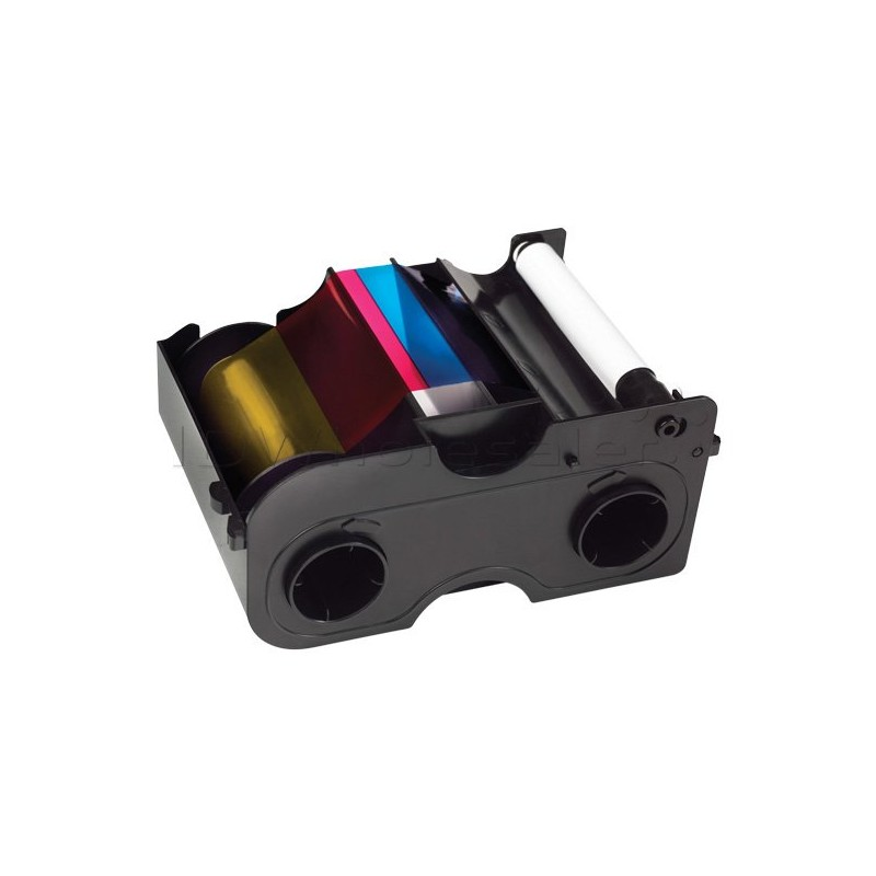 EZ - YMCKO Half Panel Cartridge w/Cleaning Roller: Full-color ribbon with resin black and clear overlay panel – 350 images